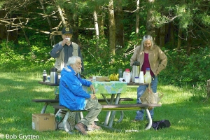 Brunch at Cataloochee Valley. Charles Johnson standing, Louis Sasso-seated and Beverly Slone.