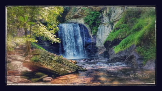 """Looking Glass Falls, by Dan Dry """"Taken with my galaxy tab 2,adjusted the color settings to bring the blue out in the falls."""""""