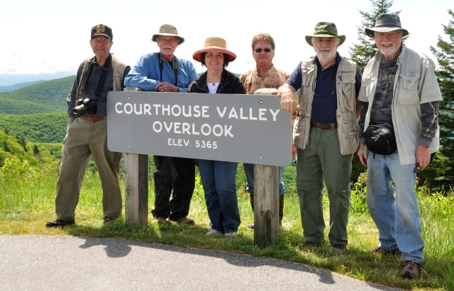 Group poses at overlook on the Blue Ridge Parkway,