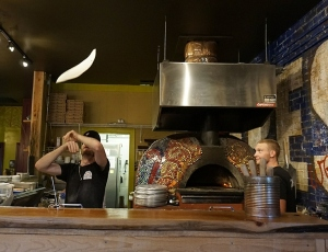Tossing Pizza at Fresh Brick Fired